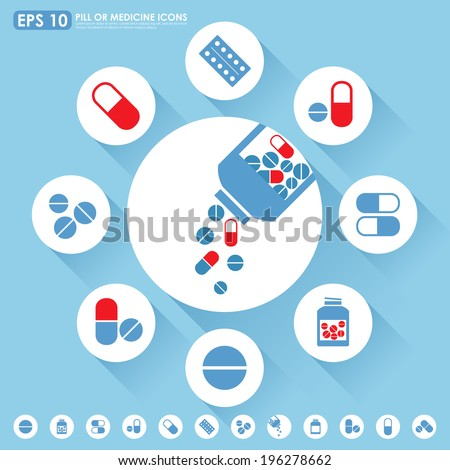 Medicine icon set in light blue & red colors - stock vector