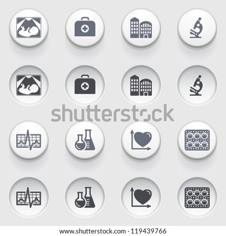 Medicine icons on white buttons. Set 3. - stock vector
