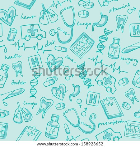 Medicine icons seamless background pattern - stock vector