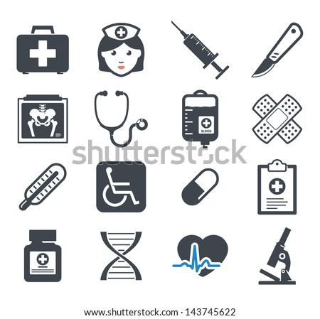 Medicine icons set - stock vector