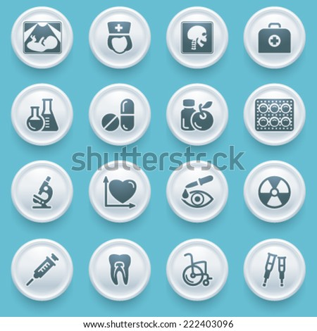 Medicine icons with white buttons on blue background.