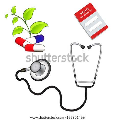 medicine illustration. name tag. pills. green branch with leaves. doctor's stethoscope. mesh vector - stock vector