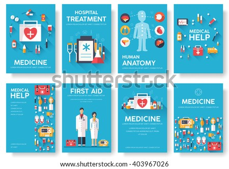Medicine information cards set. Medical template of flyear, magazines, posters, book cover. Clinical infographic concept on blue background. Layout illustrations template pages with typography text - stock vector
