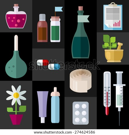Medicine Items Flat Icons. Different objects of traditional and folk medicine. Colorful modern vector flat icons set. Collection of elements and concepts for web and mobile apps. Vector file is EPS8.