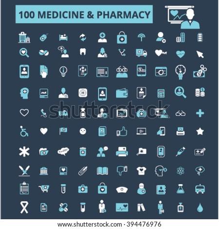 medicine pharmacy icons  - stock vector