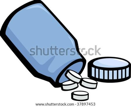medicine pills bottle - stock vector