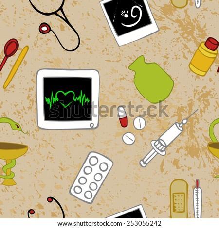 Medicine seamless pattern profession (texture) - stock vector