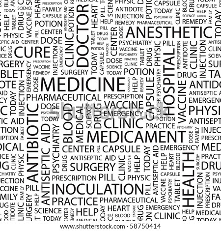 MEDICINE. Seamless vector pattern with word cloud. Illustration with different association terms.