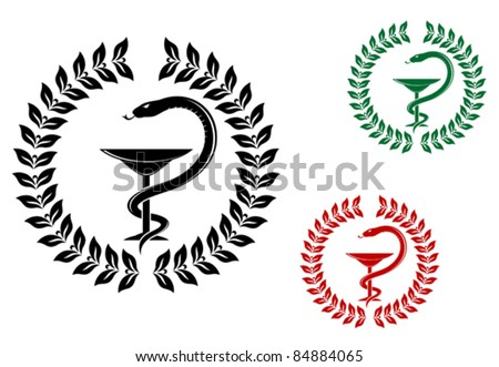 Medicine symbol - snake on cup in laurel wreath, such a logo. Rasterized version also available in gallery - stock vector