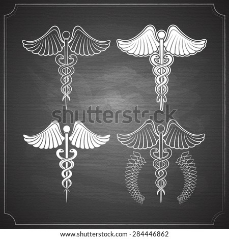 medicine symbols caduceus collection chalk pained on chalkboard vector illustration - stock vector