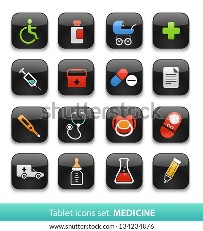 Medicine. Tablet buttons collection isolated on white - stock vector