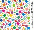 Medicine vector seamless pattern.  Colorful tablets with capsules. Vector Illustration - stock vector