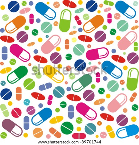 Medicine vector seamless pattern.  Colorful tablets with capsules. Vector Illustration