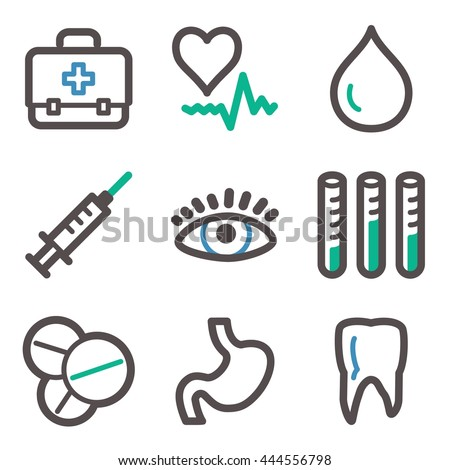 Medicine Web Icons Hospital Health Symbols Stock Vector 444556798