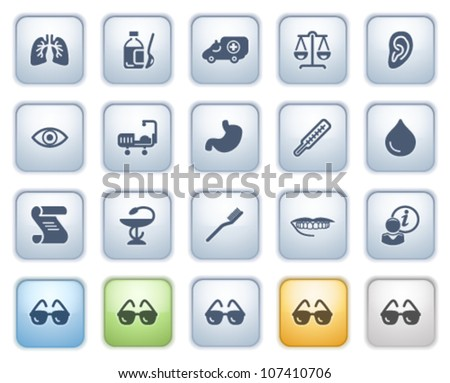 Medicine web icons on buttons. Color series. - stock vector