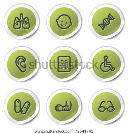 Medicine web icons set 2, green circle stickers - stock vector