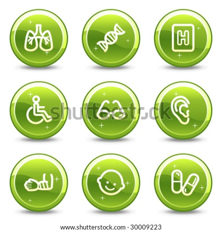 Medicine web icons set 2, green glossy circle buttons series - stock vector