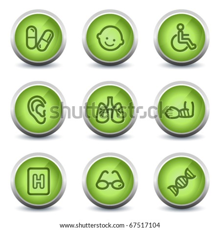Medicine web icons set 2, green glossy set - stock vector