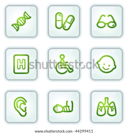 Medicine web icons set 2, white square buttons series - stock vector
