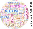 MEDICINE. Word collage on white background. Vector illustration. - stock vector