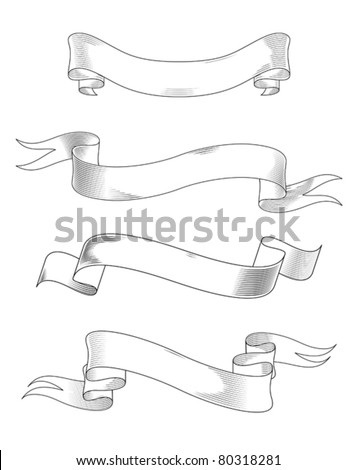 Medieval abstract ribbons set for heraldry design. Jpeg version also available in gallery - stock vector