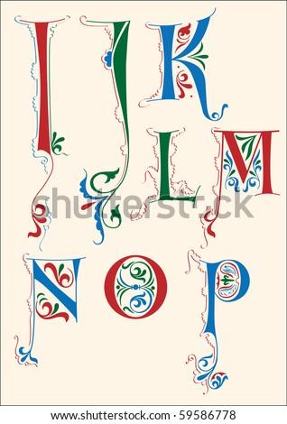 Medieval alphabet I-P - stock vector