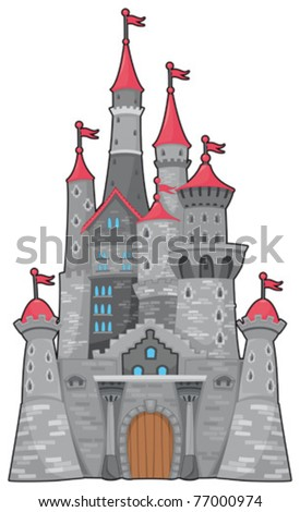 Medieval and fantasy castle. Cartoon vector isolated object - stock vector