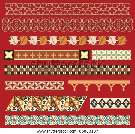 Medieval border ornaments - stock vector