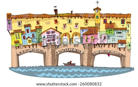 Medieval bridge with buildings on it - cartoon - stock vector