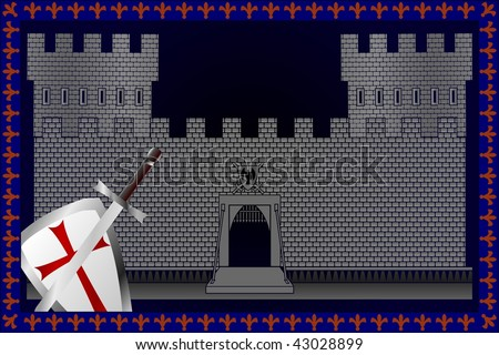 medieval castle background, vector illustration - stock vector