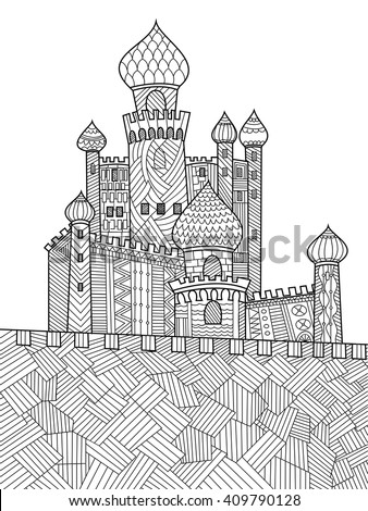 Medieval Castle Coloring Book For Adults Vector Illustration Anti Stress Adult