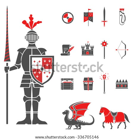 Medieval castle knight with lance and shield icons set and dragon red black abstract isolated vector illustration - stock vector