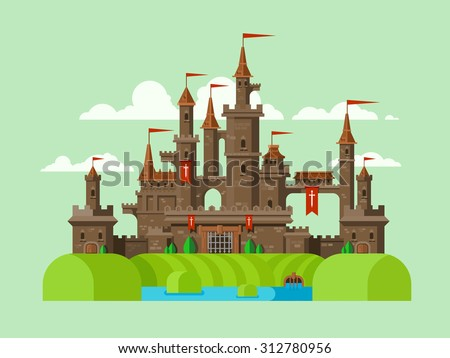 Medieval castle. Tower building, architecture ancient history, moat with water. Flat vector illustration - stock vector
