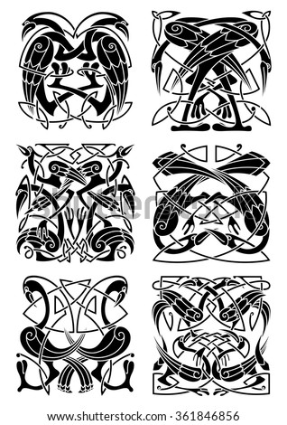 Medieval celtic ornaments with herons, storks and cranes supplemented by traditional knot patterns. Great usage for tattoo, vintage embellishment or t-shirt print