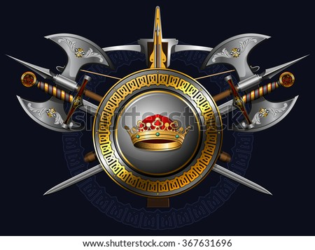 medieval coat of arms with axes, swords, shield, crown and crossbow  - stock vector