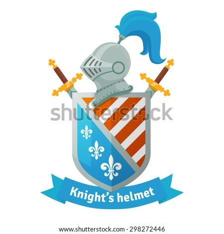 Medieval coat of arms with knight helmet, shield, crossed swords and banner. Heraldic composition.  Flat vector illustration isolated on white background. - stock vector