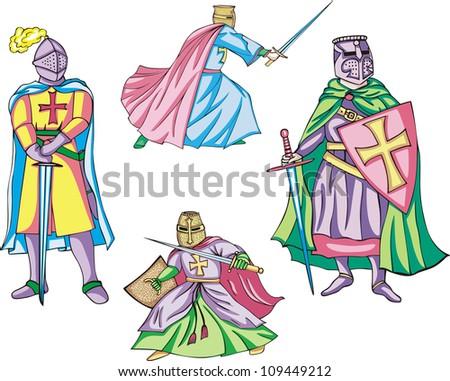 Medieval crusader knights. Set of color vector illustrations. - stock vector