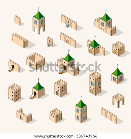 Medieval fortress fort. Isometric view vintage medieval fortress fort - stock vector