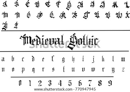 Medieval Gothic Font Decorative Vector Stock 770947945