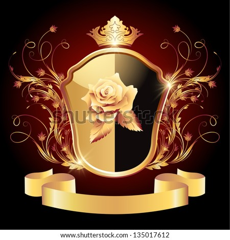 Medieval heraldic shield ornate golden ornament and crown - stock vector