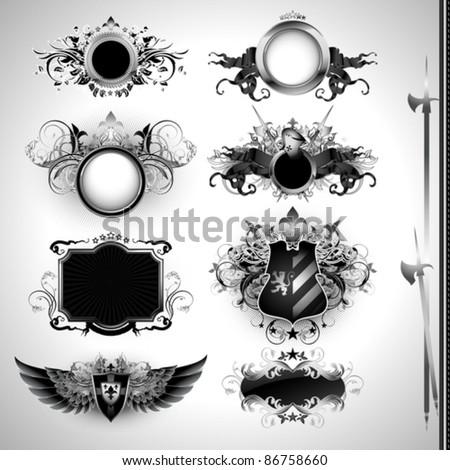 medieval heraldry shields - stock vector