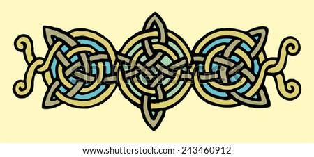 medieval illuminated manuscript Celtic knot ornament    - stock vector