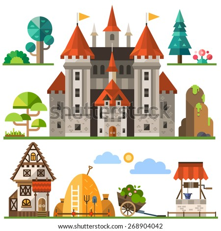 Medieval kingdom element: stone castle, wooden house, trees, rocks, well, haystacks.  Vector flat  illustrations - stock vector