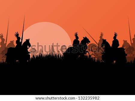 Medieval knight horseman silhouettes riding in battle field warfare illustration background vector - stock vector