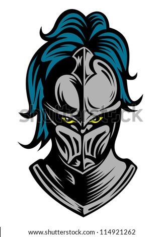 Medieval knight in steel helmet. Vector illustration - stock vector