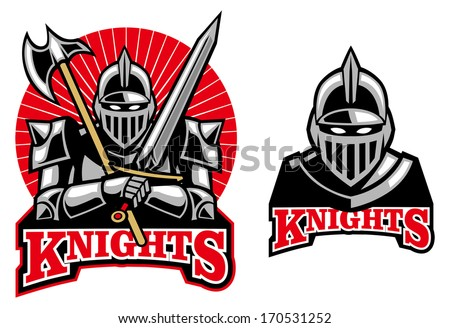 medieval knight mascot - stock vector