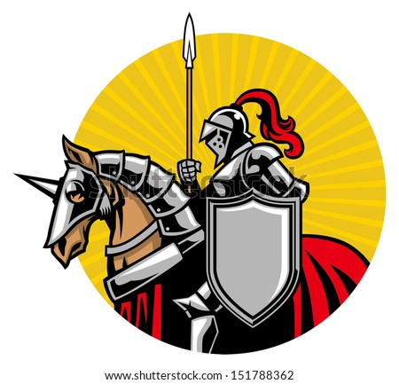 Medieval knight ride a horse - stock vector