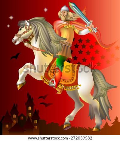 Medieval knight riding on horse, vector cartoon image - stock vector