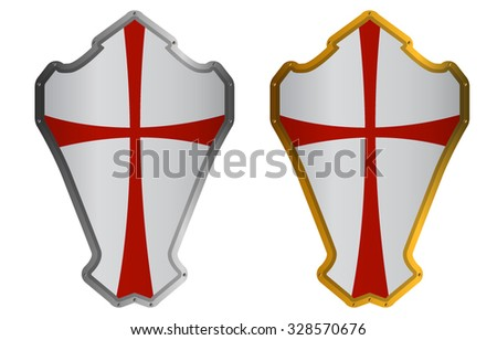 Medieval Knight Shields Isolated on White - stock vector