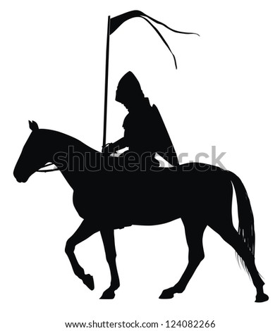 Medieval knight with flag on horseback detailed vector silhouette - stock vector